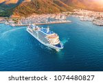 cruise ship at harbor. aerial... | Shutterstock . vector #1074480827