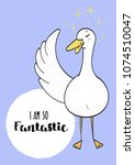 premade postcard with duck ... | Shutterstock .eps vector #1074510047