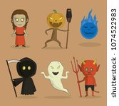various characters for happy... | Shutterstock .eps vector #1074522983