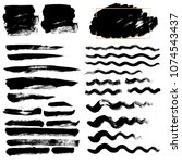 black wave brush strokes vector ... | Shutterstock .eps vector #1074543437