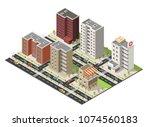 isometric cityscape building...   Shutterstock .eps vector #1074560183