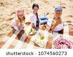 three happy little friends...   Shutterstock . vector #1074560273