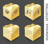 set of realistic 3d collection... | Shutterstock . vector #1074577433