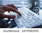 ask quiestion online  faq... | Shutterstock . vector #1074581903
