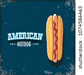 vector cartoon american hotdog... | Shutterstock .eps vector #1074586463