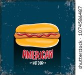 vector cartoon american hotdog... | Shutterstock .eps vector #1074586487
