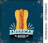 vector cartoon american hotdog...   Shutterstock .eps vector #1074586643