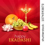 background with fruits and diya ...   Shutterstock .eps vector #1074593873