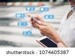 close up woman hand using... | Shutterstock . vector #1074605387