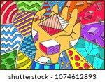 hand drawn pop art wallpaper... | Shutterstock .eps vector #1074612893