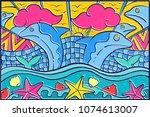 hand drawn pop art wallpaper... | Shutterstock .eps vector #1074613007