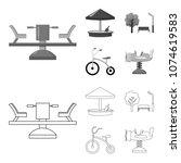 carousel  sandbox  park ... | Shutterstock .eps vector #1074619583