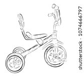 simple doodle of tricycle at... | Shutterstock .eps vector #1074666797