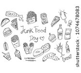 junk food  doodle | Shutterstock .eps vector #1074678083
