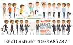 man's routine character design... | Shutterstock .eps vector #1074685787