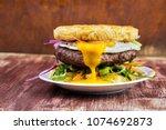ramen beef burger with egg ...