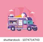 retro ice cream van in flat... | Shutterstock .eps vector #1074714743