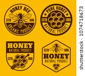 set of four honey and... | Shutterstock .eps vector #1074718673