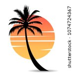 palm tree image with sun | Shutterstock .eps vector #1074724367