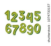 cute green handdrawn numbers... | Shutterstock .eps vector #1074733157