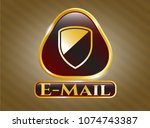 gold emblem or badge with... | Shutterstock .eps vector #1074743387