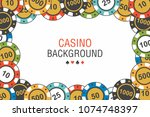 poker chips background. top... | Shutterstock .eps vector #1074748397