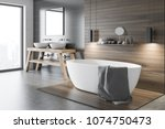 black and wooden wall bathroom... | Shutterstock . vector #1074750473
