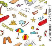 colorful beach doodles. vector... | Shutterstock .eps vector #107475947