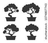 bonsai tree silhouette set | Shutterstock .eps vector #1074807743