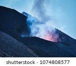 lava eruption of the stromboli... | Shutterstock . vector #1074808577