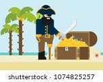 pirate and open treasure chest... | Shutterstock .eps vector #1074825257