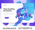 landing page template of stay... | Shutterstock .eps vector #1074838913