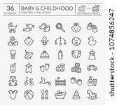 baby icons set. outline symbols ...