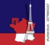 eiffel tower and landmark on... | Shutterstock .eps vector #1074860267