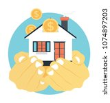 flat icon design of home... | Shutterstock .eps vector #1074897203