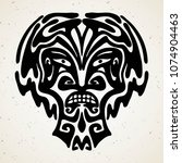 tribal tattoo with the god mask.... | Shutterstock .eps vector #1074904463