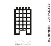 fibe star hotel flat glyph icon ... | Shutterstock .eps vector #1074921683