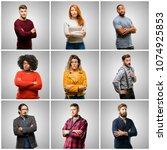group of mixed people  women... | Shutterstock . vector #1074925853