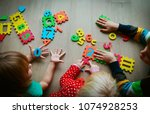 kids learning numbers  counting ... | Shutterstock . vector #1074928253