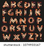 fantasy font with curly... | Shutterstock .eps vector #1074933167