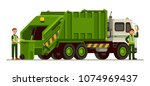 garbage truck and sanitation...   Shutterstock .eps vector #1074969437