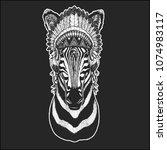 zebra horse cool animal wearing ... | Shutterstock .eps vector #1074983117
