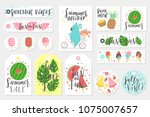 summer set of sale and gift... | Shutterstock .eps vector #1075007657