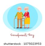 grandparents day  placard with... | Shutterstock .eps vector #1075023953
