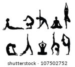 yoga pose silhouettes, in various poses. Vector format. - stock vector