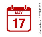 17 may calendar red icon.... | Shutterstock .eps vector #1075041017