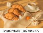 afternoon dessert bread and... | Shutterstock . vector #1075057277