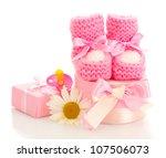 pink baby boots  pacifier ...   Shutterstock . vector #107506073