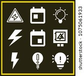 set of 9 electricity filled...   Shutterstock .eps vector #1075061933