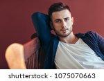 portrait of handsome sexy man...   Shutterstock . vector #1075070663